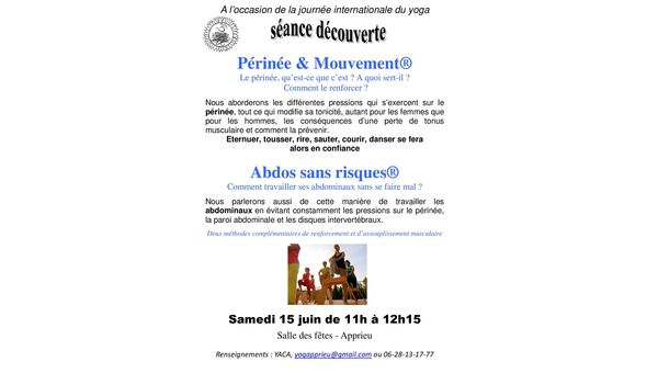 YOGA: PERINEE ET ABDOS SEANCE DECOUVERTE